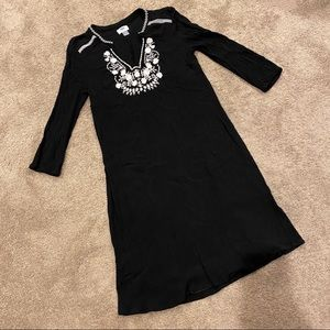 Old Navy Shift Dress Embroidery Black Floral